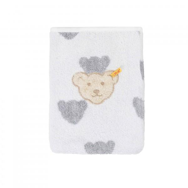 Steiff Waschlappen Teddys weiß grau 19 cm